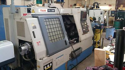 Used Mazak SQT 15MS Live Tool CNC Lathe Turning Center w/ Barfeeder Catcher 1992