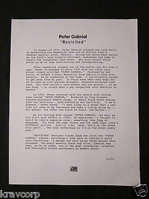 Peter Gabriel 'Revisited' 1992 Press Release