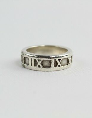 Tiffany Silver Ring with Roman Numerals (1995) Size 5