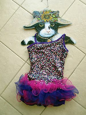 Curtain Call NEW Costume PINK PURPLE SEQUINS TUTU LEOTARD BIKETARD CHILD M CM