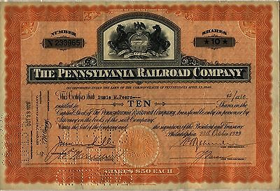 October 28 1929 Pennsylvania Railroad Stock Certificate Crash Dated