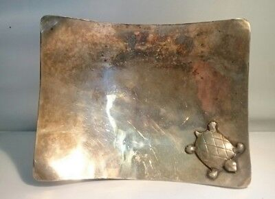 Vintage Turtle Tray Stamped Sylvester Silverplate Footed Tray