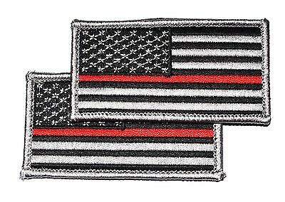 2-Pack Firefighter Thin Red Line Embroidered US Flag Patch