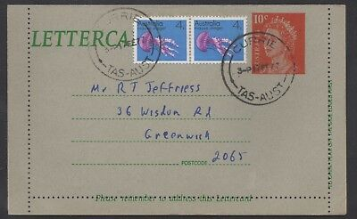 """Australia 10c QE2 lettercard uprated with 4c x 2, """"CURRIE"""" (King Island) pmk"""