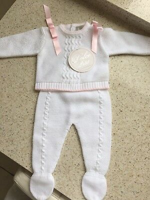 Baby Girl Dolce Petit Spanish Suit Set Pink And White Bows 1 Month