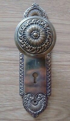 Antique Victorian Brass Door Knob and Door Back Plate - Plate is cast