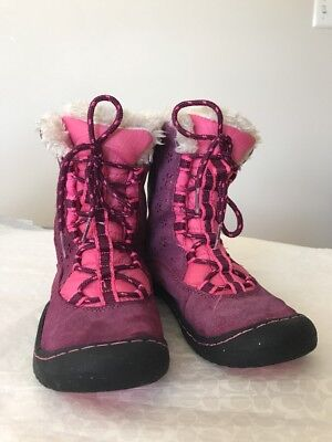 Jambu Pink Suede Faux Fur / Leather Boots Size 3 Girls