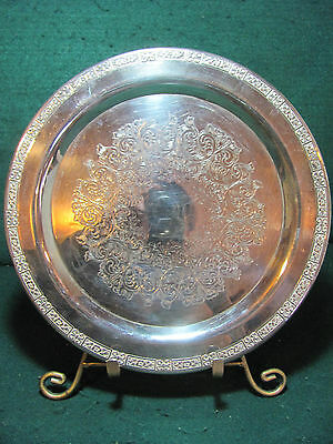 Vintage 10 Inch Silver Plated Serving Tray Inscribed