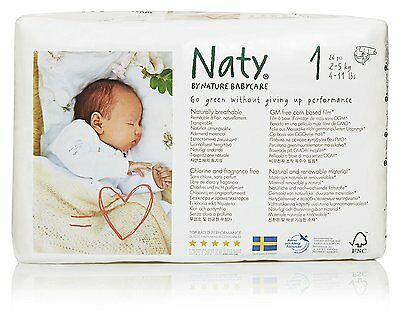 Naty by Nature Babycare Newborn ECO Nappies Size 1, 4 Packs of 26 -104 Nappies