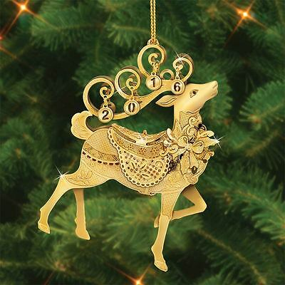 Danbury Mint 2016 Annual Gold Christmas Ornament - Fanciful Reindeer Collectible