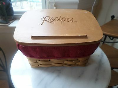 Longaberger Large Recipe Basket Combo With Paprika Liner And Wood Lid Cards