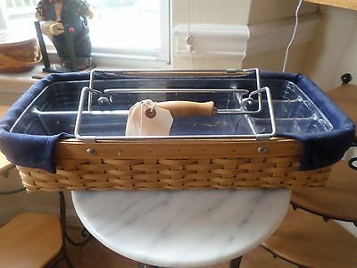 Longaberger  Household Caddy Basket Combo Navy Liner And Protector