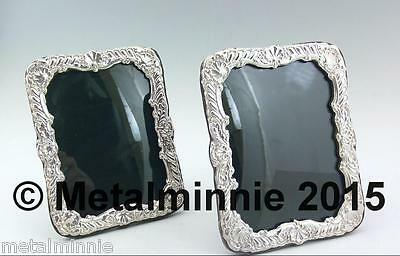 A Pair Of Vintage  Silver Photo Frames , Wooden Backs 1996 & 7, 6.5 X 5.0 Inch