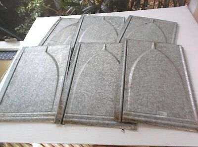 Vtg Lot 6 Galvanized Tin Roof Shingles Tiles Embossed Bishop Hat Geometric #2