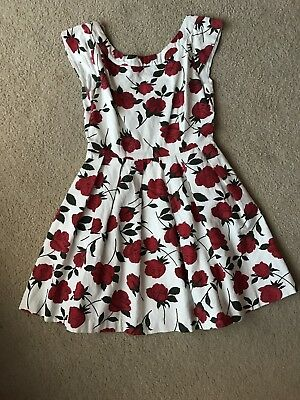 Minkpink Dress SiZe Xs 6 White Red Rose Green Floral