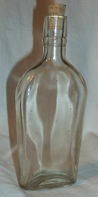 "Vintage Clear Glass Medicine or Liquor Bottle 6"" Tall"