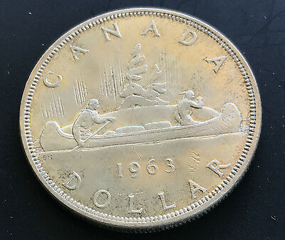 1963-Canada-Silver-Canoe-Dollar-(EF or better)