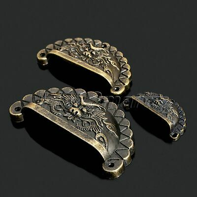4Pcs Iron Shell Cup Dragon Type Handle Chest Door Drawer Cabinet Pull Knob Retro