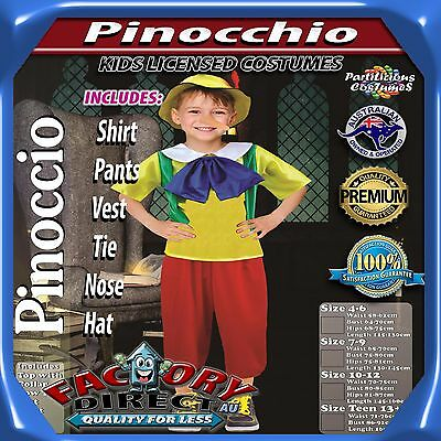 NEW! High Quality Boys Kids Pinocchio Character Child's Dress Up Costume Outfit!