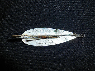 Antique Johnson's Silver Minnow Spoon Lure Pat'd 8-22-28 NEVER CLEANED FREE SHIP