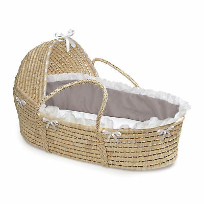Natural Hooded Grey/ White Fabric Moses Basket