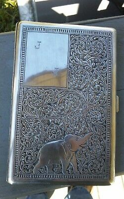 Antique Silver Cigarette Case Sri Lanka Unmarked Inscribed Heavy WWII Era