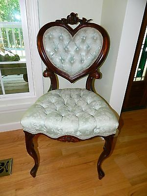 Antique Victorian Tufted Heart Back Parlor Chair