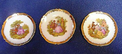 Limoges France Miniature Fragonard Portrait Courting Couple Porcelaine Plates