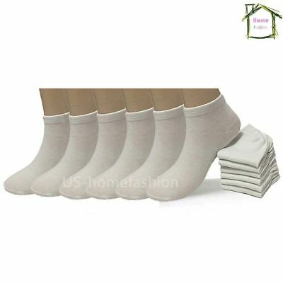 New Lot 6 12 Packs Ankle Socks Cotton Mens Womens Low Cut Size 9-11 10-13 White