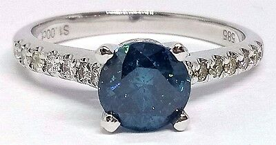 14ct solid White Gold 1.00ct Blue Diamond Ring with Valuation