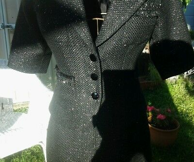 EVENTS SUIT SIZE 8 BLACK with SILVER FLECK