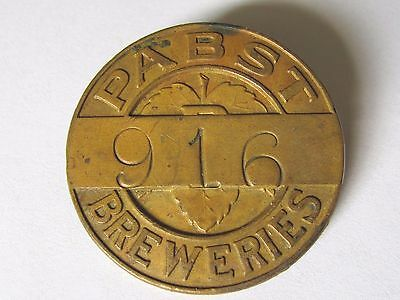 Vtg Pabst Breweries  Employee Id Tag Badge Pin # 916 W, Blue Ribbon Beer