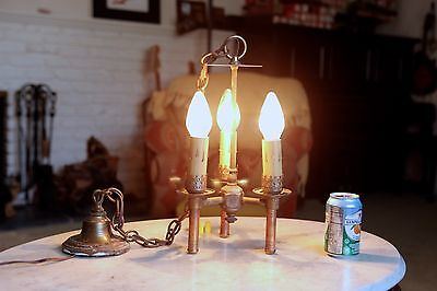 Antique Brass and Copper Chandelier, Tri-Torch, Refurbished Wiring, TESTED, NICE