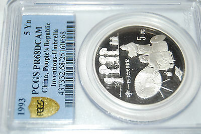 1993 China I&D UMBRELLA S5Y PCGS PF68 silver proof coin invention discovery