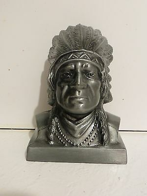 Banthrico Still Bank Indian Chief Native American vintage 1974 silver tone