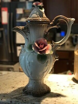 Vintage Italian Nuova Capodimonte Brown and White Vase with Pink Hibiscus Flower