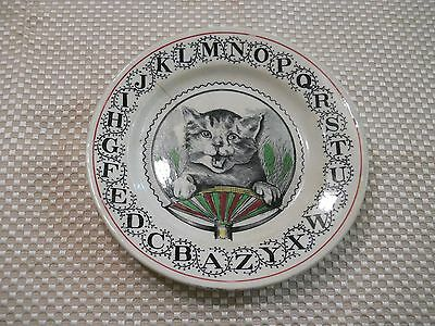 "Vintage 7"" Alphabet Abc Border Cat Plate"