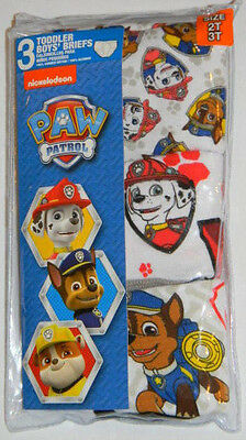 New Nickelodeon Paw Patrol Chase Blue Red Toddler Boys Briefs Underwear Sz 2T 3T