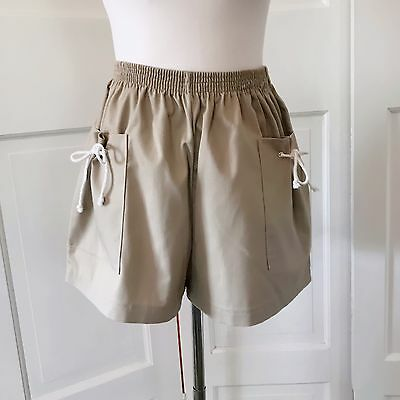 80s Vintage Sweet Topping Brand High Waisted Khaki Shorts Tied Pocket Women's 14