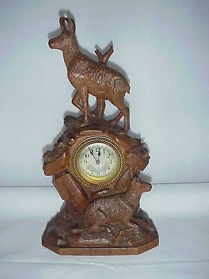 Antique Black Forest Wood Carving Chamois Ibex W Clock & 2 Figures Swiss Carving