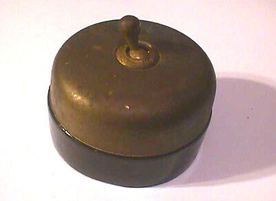 Vintage Hubbell ON/OFF Brass and Black Porcelain Toggle Switch Steampunk