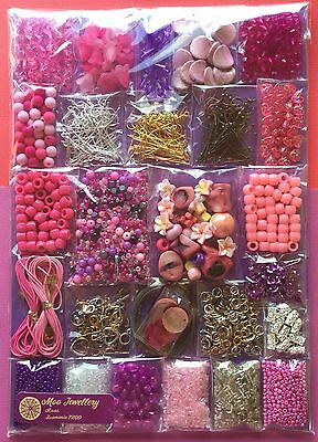 Bulk Jewellery Making Kit Pack Huge Pink Purple Bead Findings - Aussie Seller!!!