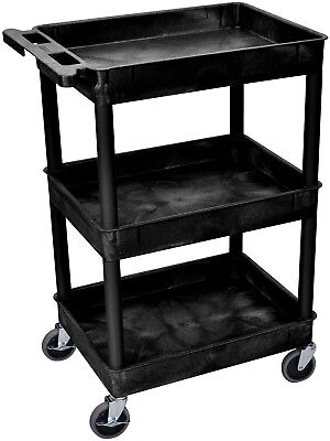 Luxor Black 3 Tub Shelf Utility Cart safely Easy assembly Made USA Strong Body