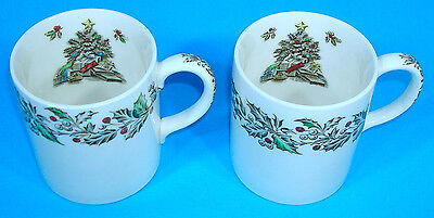 Set of 2 Johnson Brothers Merry Christmas Mugs