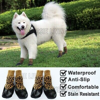 Dog Waterproof Socks Non-Slip S M L XL Leopard - Puppy Cat Pet Shoes Slippers