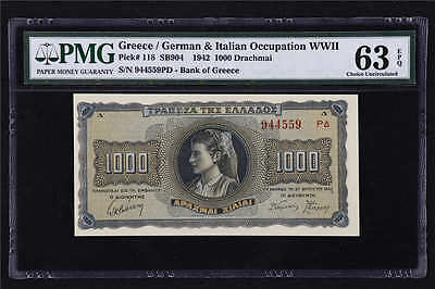 1942 Greece Occupation WWII 1000 Drachmai Pick#118 PMG 63 EPQ Choice UNC