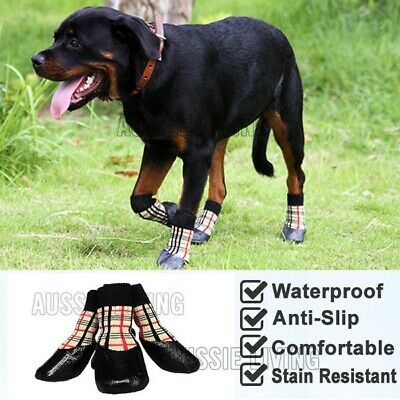 Dog Waterproof Socks Non-Slip S M L XL Checker - Puppy Cat Pet Shoes Slippers