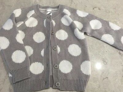 Size 2 Bonds Grey White Spot Knit Cardigan NWOT