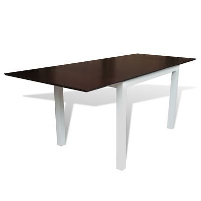 2 Side Extendable Dining Table MDF Tabletop Solid Rubberwood Leg Brown and White
