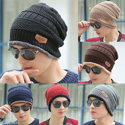 US Women Men Winter Knitted Beanie Fur Baggy Wool Cap Skull Slouchy Warm Ski Hat